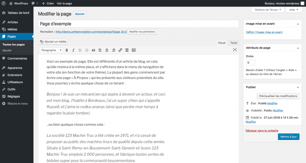 Edition De Page Dans WordPress