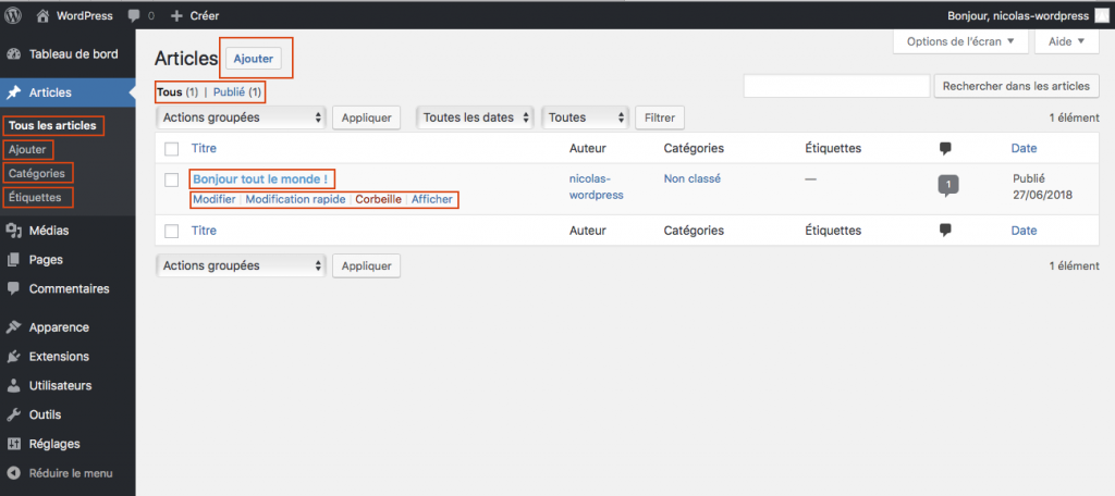 Listing Articles Dans Administration WordPress
