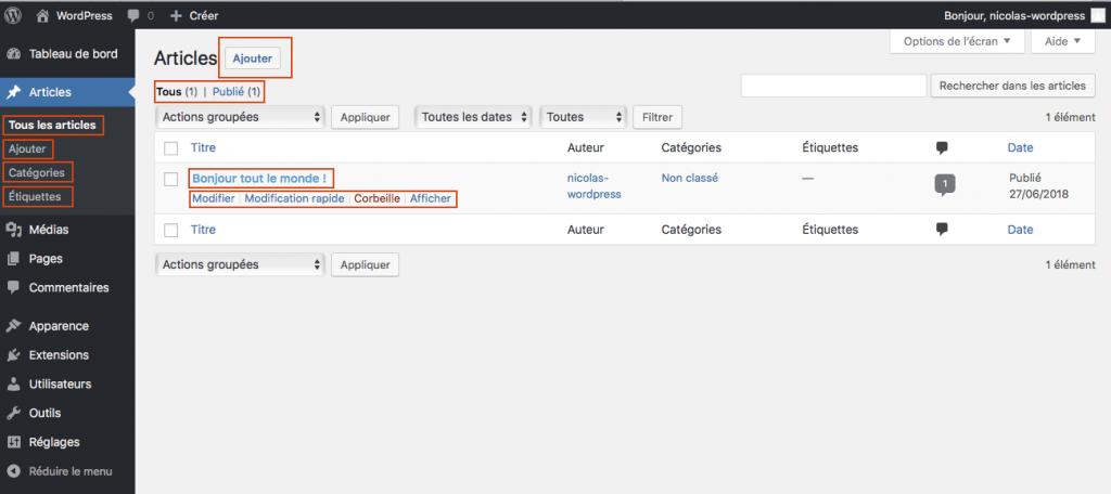 Listing Articles Dans Administration WordPress