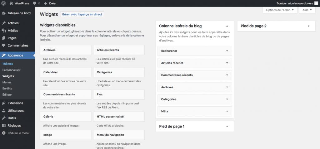 Menu apparence dans wordpress gestion des widgets