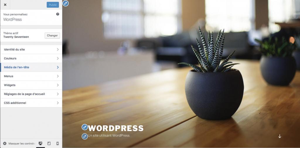 Menu apparence dans wordpress personnaliser avec le customizer