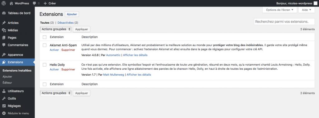 Page de gestion des extensions dans wordpress