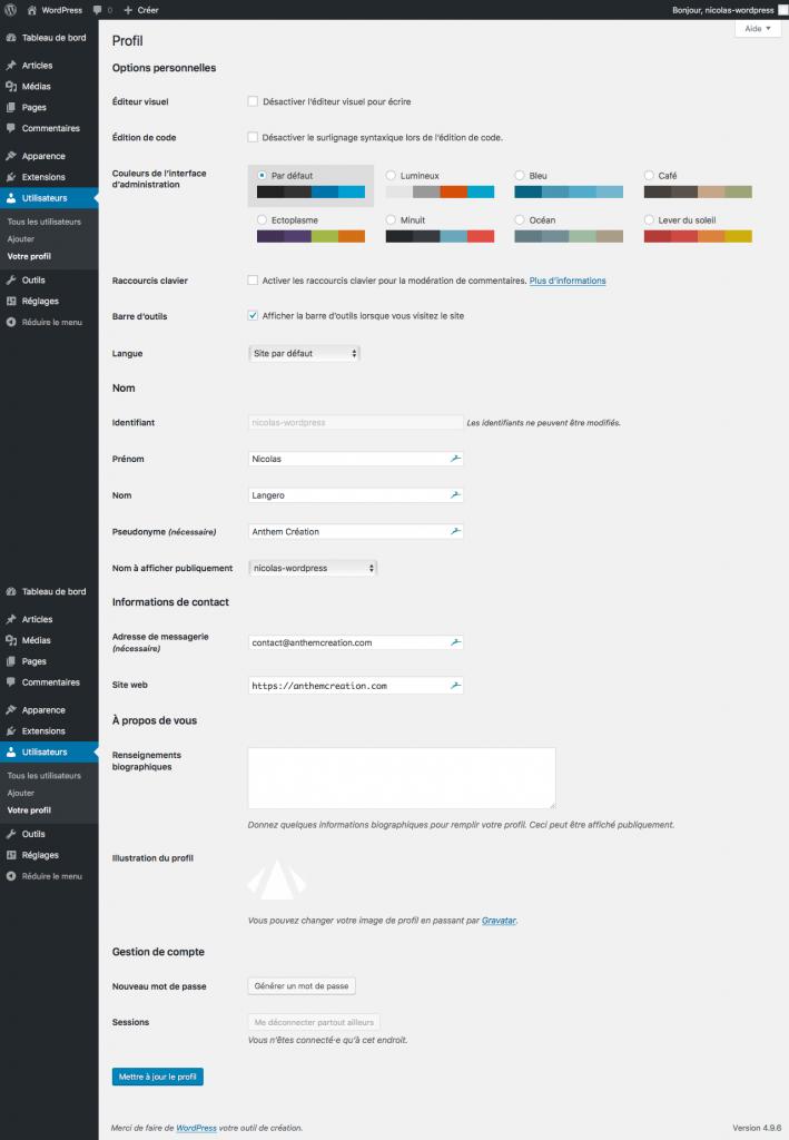Page De Profil Dans WordPress