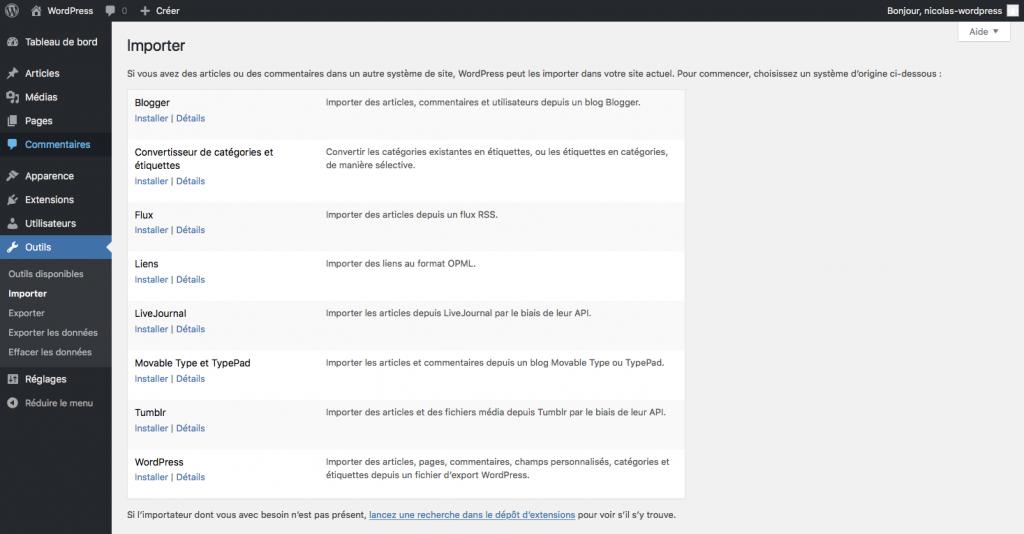 Pages des outils dans wordpress