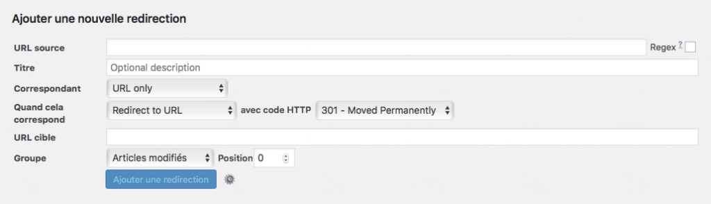 Plugin WordPress Redirection - Interface - Options Avancées