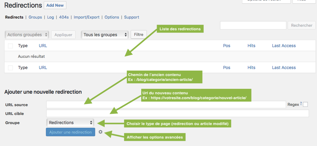 Conserver votre référencement avec le plugin WordPress Redirection - Interface