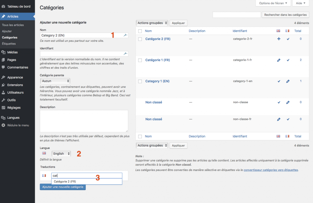 Traduire votre site avec le plugin wordpress polylang association de traduction de categories