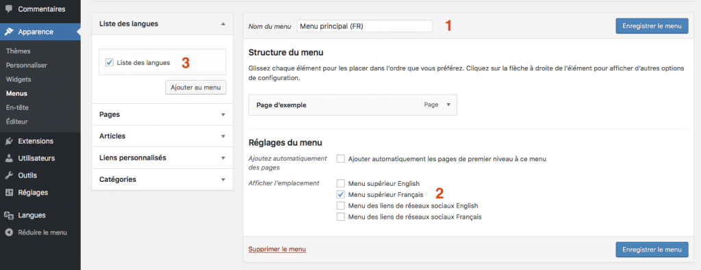 Traduire votre site avec le plugin wordpress polylang configurer le language switcher