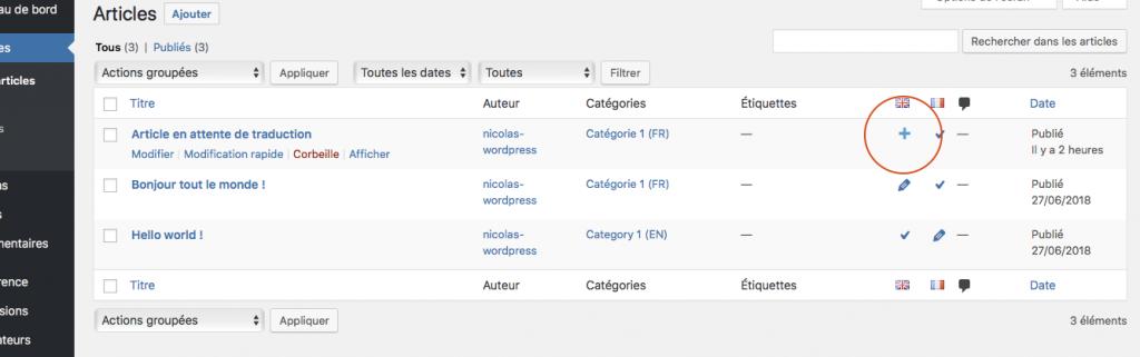 Traduire votre site avec le plugin wordpress polylang listing des articles ajout des traductions