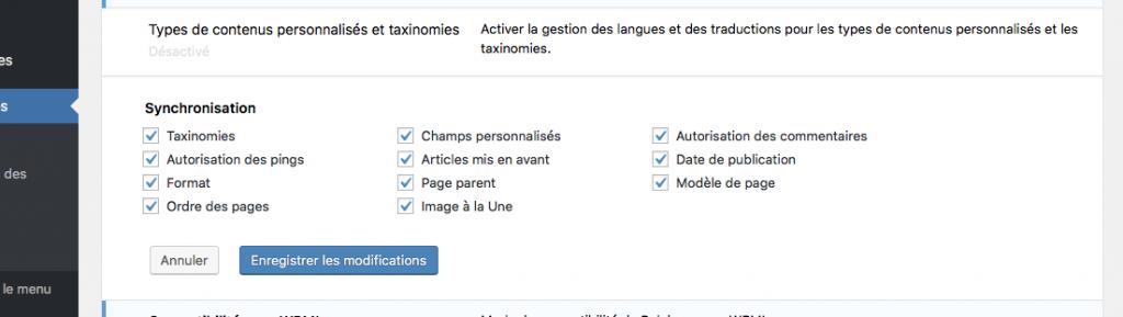 Traduire votre site avec le plugin wordpress polylang reglages de la synchronisation des langues